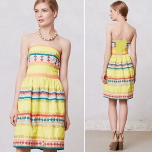 Anthropologie Leifsdottir Quilotoa Strapless Dress
